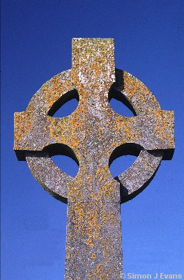 Celtic Cross with lichen